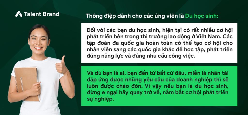 """Thông điệp dành cho các ứng viên là Du học sinh - Vietnam Young Talent - Webinar """"Vietnam Young Talent: Hear & Talk"""" với chủ đề """"Bàn luận chuyên sâu: Ứng viên hiện đại tìm kiếm những gì từ một chương trình tài năng trẻ?"""""""